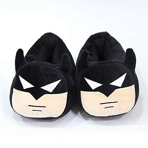 Chaussures Femmes Filles Fourrantes Pantoufles Cartoon Noir Batman Coton Pantoufles Hiver Couples Couples Home Peluche Diapositives Grande Taille 35-42-Black,8
