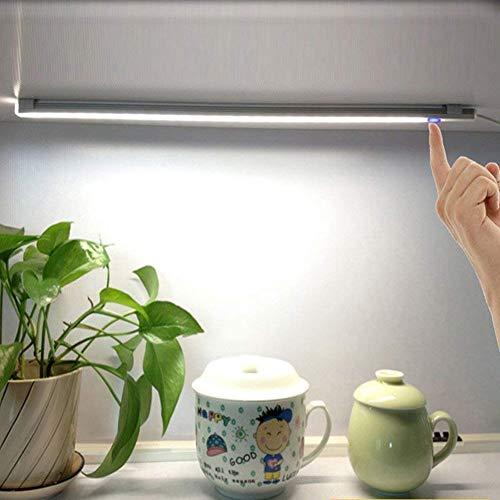 Tubo LED Lámpara de Luz Armario Blanco Fría Ajustable Barra de Luces de USB con Diseño Táctil Iluminación Regulador de Luminosidad para Armario Mesa Estudio Cocina
