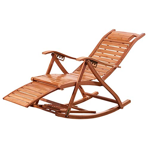 ZHIRONG Summer Bamboo Rocking Chair Adjustable Recliner Portable Folding Chair Garden Lawn Sun Loungers Balcony Old Man Siesta Chair With Headrest And Foot Massage