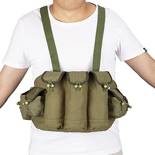 PanbooX Chinese Military Canvas Type 56 Chest Rig AK 47 Magazine Pouch Ammo Bandolier Green