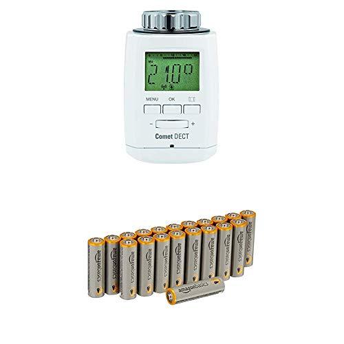 Eurotronic Comet DECT Heizkörperthermostat / Thermostat mit Internetzugang – kompatibel mit AVM FRITZ!Box / App gesteuertes Heizungsthermostat - Weiß mit AmazonBasics Batterien