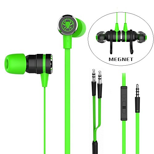 Granvela G20 Wired Gaming Earbuds,HD Noise Isolation in Ear Gaming Headphones with Mic,3.5mm Jack and Y Splitter for PC, Xbox and PS4. 87 inch Extra Long Cable (Green)