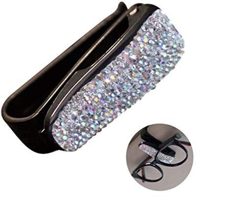 ROYALFOX 3D Bling Diamond Women Girl Car Glasses Holder, Cash Money Card Holder Sunglasses Mount Eyeglasses Clip for Auto Sun Visor,car Bling Accessories for Women Girl (White)