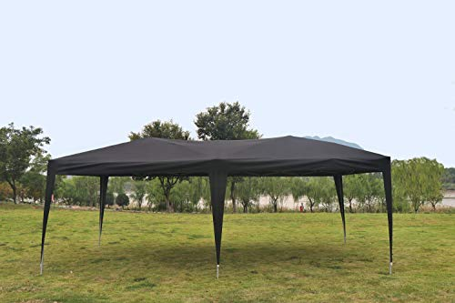 Kronenburg Faltpavillon 100% WASSERDICHT Pavillon, Gartenzelt, 3x6 m - mit UV Schutz 50+, Schwarz