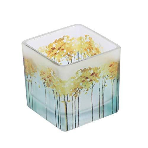 6 cm Nordic Glas Kerzenständer Hochzeit Bankett Dekoration Farbdruck Quadrat Kerzenhalter Restaurant Dekoration Zubehör (Herbst Gelb)