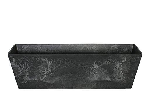Artstone Vaso da Fiori Contenitore da Balcone Ella, Resistente al Gelo e Leggero, Nero, 74x17x17cm
