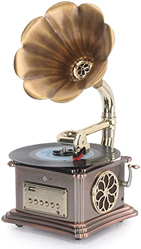 Mini Record Player with Aluminum Base, Phonograph Bluetooth Speaker, Aux-in,Aux-Output, USB Port for Flash Drive, Vintage Gramophone Turntable for Home Decoration (with Record Player)