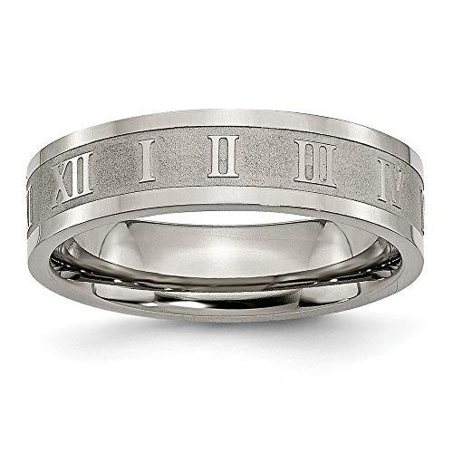 JewelryWeb Titanium Engravable Gepolijst en Satijn Romeinse cijfers 6mm Satijn en Gepolijst Band Ring - Maat L 1/2