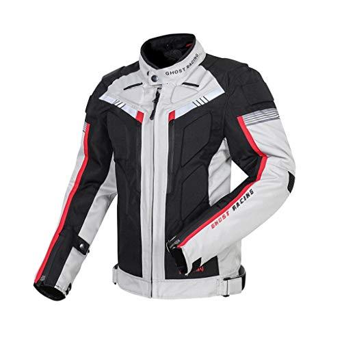 balikha Chaqueta De Moto Scooter Riding Biker Jacket Chaqueta De Hombre para Turismo Deportivo - Negro + Blanco frío, L