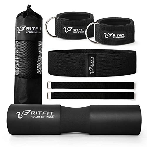 RitFit Upgraded 7 Pack Barbell Squat Pad Set with Resistance Band2 Safety Straps2 Gym Ankle Straps and Carry BagWorkout for Lunges Hip ThrustsProtect Neck Shoulder Black