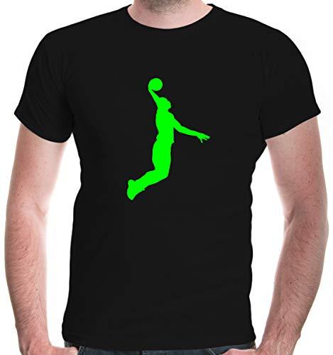 buXsbaum® Herren Unisex Kurzarm T-Shirt bedruckt Basketball Dunker | Basketballschuhe Fanshirt Trikot | L black-neongreen Schwarz