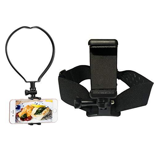 Yoogeer VLOG/POV Adjustable Cellphone Selfie Head + Neck Mount Holder Strap for Action Camera/Gopro Hero/Apple iPhone SE 11 Xs X 8 7 Samsung Galaxy S20 S20+ BLU Phone (Head + Neck Mount)