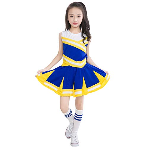 Happy childhood Little Girls' 2 Piece High School Cheerleading Uniform Costume Complete Outfit Cosplay Fancy Dress, Short Sleeved
