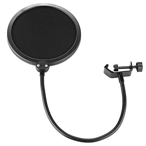 Skitic Studio Microphone Mikrofon Runde Form Wind Popschutz Windschutz Pop Filter Mask Schied Pop Blocker mit Doppelschicht für die Aufnahme Sprechen (Schwarz)