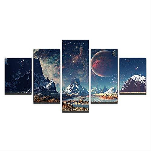 DGGDVP Impresión en Lienzo Pintura Cartel de montaña Picos Imagen Modular de Pared 5 Panel Paisaje de Tierra para decoración del hogar Tamaño de habitación para niños 2 Sin Marco