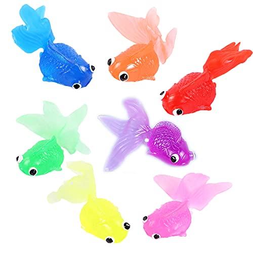 7 Stück Künstliche Goldfisch Schwimmende Goldfisch Aquarium Dekoration Goldfisch Kinder Simulation Fische Weiche Goldfisch Schwimmende Fisch für Kinder Spielzeug Badespielzeug Aquarium Dekoration