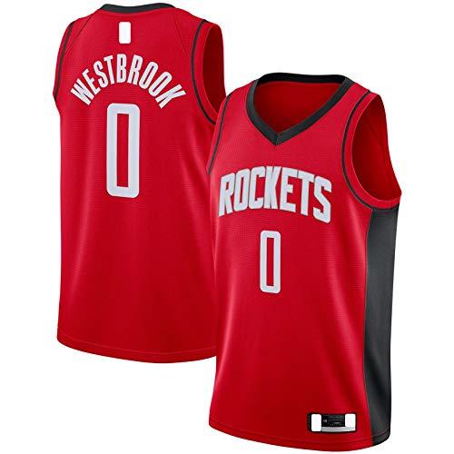 YUEJI Rojo Swingman Jersey Houston Top Sin Mangas Rockets Al Aire Libre #0 Russell Sudadera Westbrook Baloncesto Jersey Icono Edition-S
