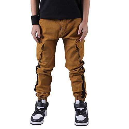 CAMLAKEE Kinder Jogger Hose Jungen Cargohose Slim Fit mit Seitenstreifen und Verstellbarer Taille, Khaki, 128 / Größe 10