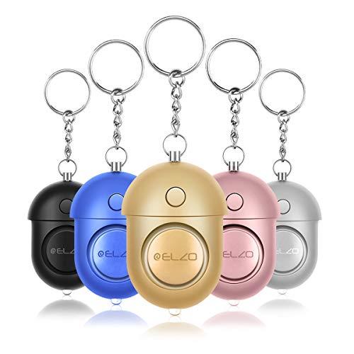 ELZO Alarma Personal, 5 Piezas 140DB Alarma Seguridad Autodefensa con Función de Iluminación para Seguimiento/Pánico/Seguridad/Ataque/Protección
