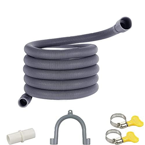Tubo di scarico,Tubo di Scarico in PVC,Tubo di scarico per lavatrice e lavastoviglie,kit di prolunga tubo di scarico, Per lavatrici e lavastoviglie. (3M)