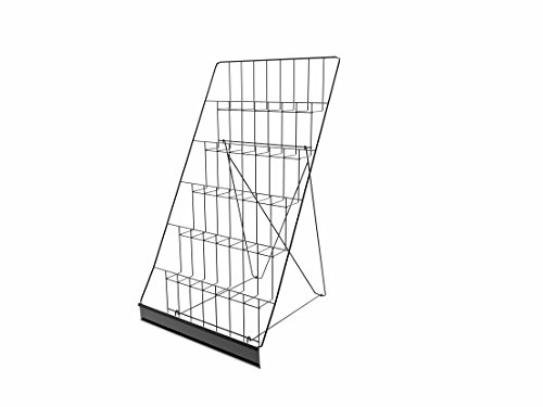 FixtureDisplays 6-Tiered 18' Wire Display Rack for Tabletops, 2.5' Open Shelves, with Header - Black119352 119352