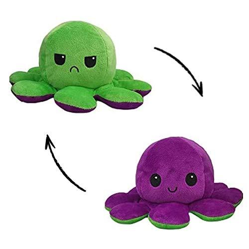 Peluche di Polpo Reversibile, Simpatica Bambola di Polpo a Doppia Faccia, Polpo Creativo appositamente Progettato per i Bambini (1-Viola/Verde)
