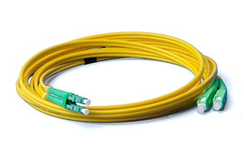 Cable de fibra óptica LWL, 15 m, OS2 amarillo, LC/APC a SC/APC...