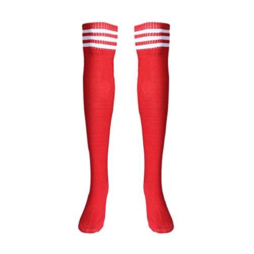 TONSEE Mode Design Frauen Mädchen über die Kniestrümpfe Oberschenkel hohe Dicke Socken Stripe wie Strümpfe Striped solid Color 5 Wahl (rot)