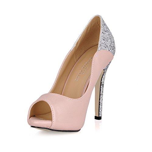 Klik vrouwen vallen nieuwe Koreaanse banket lichte poort vis tip vrouwen schoenen roze grote fijne schoenen met hoge hakken