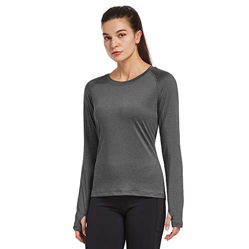 Ogeenier Camisetas de yoga de manga larga para mujer, con agujeros para el pulgar, gris, XXL