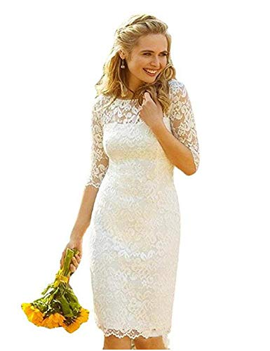 Stillluxury Knielanges Abendkleid aus Spitze für Frauen Hochzeit Halbarm Brautkleid W52 Gr. 46, elfenbeinfarben