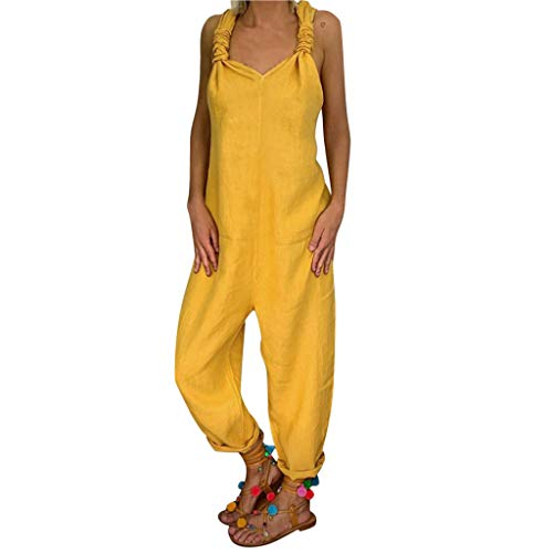Ansenesna Latzhose Damen Einfarbig Locker Elegant Hose Frauen Rückenfrei Casual Overall (Gelb,XXL)