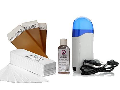 Kit EPILATION complet avec 1 Chauffe Cartouche +3 cartouches de cire à épiler MIEL +100 bandes d'épilation +1 Huile Post Épilatoire 100 ml - Purewax By Purenail