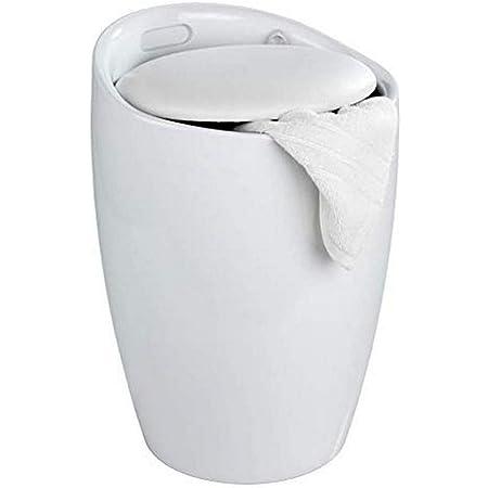 WENKO Tabouret Panier à linge, coffre à linge et tabouret salle de bain Candy, coussin amovible, Blanc, 20 litres, Ø 36x50,5 cm