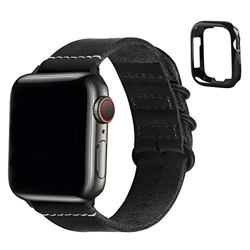 Fullmosa Compatible pour Bracelet Apple Watch 42mm/44mm Cuir de Véritable,Bracelet de Remplacement pour Bracelet iWatch Série 6/5/4 (44mm) Série 3/2/1(42mm) - Noir