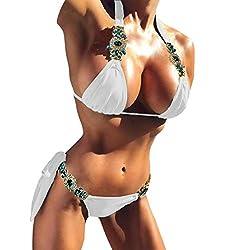 White Swimwear Rhinestone Halter Low Waisted Tie Side Bikini Set