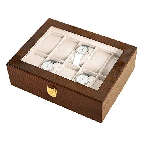 HFDXG Cajas De Reloj Caja de Reloj de la Caja del Organizador de visualización Hombres Mujeres de 10 Ranuras de visualización Caja con Tapa de Cristal (Color : Brown, Size : 26X20X5CM)