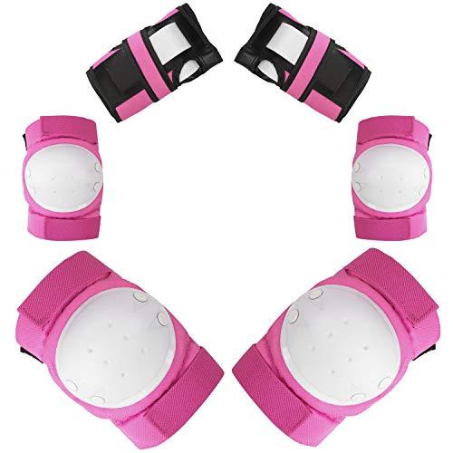 Protektoren Set für Kinder & Erwachsene 6-teilig Ellenbogenschützer Handgelenkschoner Knieschoner Schutzausrüstung Set Knieschützer Armbänder für Radfahren Roller Skaten BMX Skateboard (Pink S)