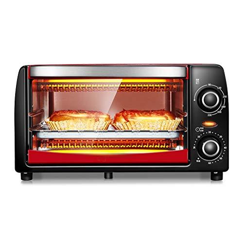 JCOCO Four mini 12L avec réglage de la température 0-230℃ et 0-60 min minuterie, grille-pain porte 1050W double vitrage rouge