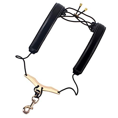 Milisten Saxophone Strap Adjustable Genuine Leather Leather Neck Shoulder Strap for Sax Bass Tenor Alto Saxophone Accessory Black