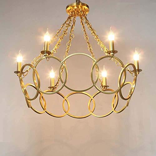 YANGQING Lámpara de luz de cobre arte sala comedor anillo cálido estilo europeo lámpara de araña de cobre puro diámetro 79 x 68 cm (E14 x 6)