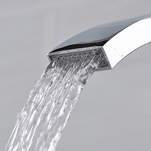 Homelody – Einhebel-Waschtischarmatur, ohne Ablaufgarnitur, Wasserfallarmatur, Chrom - 6