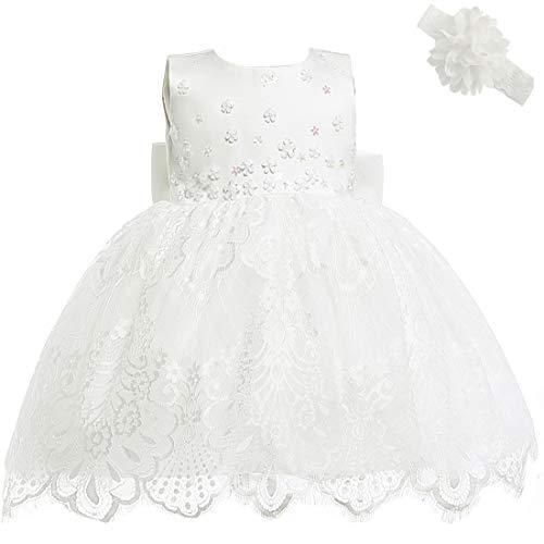 AHAHA Baby Mädchen Prinzessin Kleid Blumenmädchenkleid Taufkleid Festlich Kleid Hochzeit Partykleid Festzug Babybekleidung