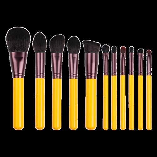 Pinceau de maquillage-jaune série de brosses à cheveux synthétiques Set-yeux et du visage cosmétique Pen-artificielle-cheveux beauté beginer outil Matériel fiable (Handle Color : 11 pcs brushes)
