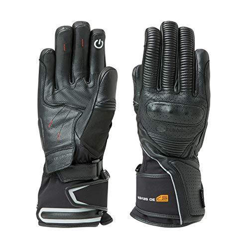 Motocross Motorhandschoenen met accu, 30 seven, verwarmbare motorhandschoenen voor motorrijders en bikers, lederen beschermers, zwart, heren en dames, uniseks
