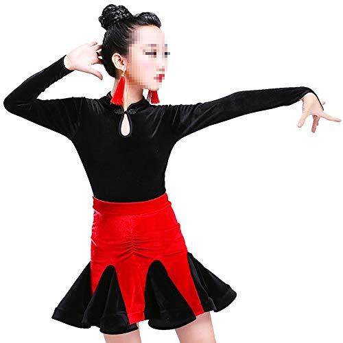 Mädchen tanzen Kleid Rock Latin Kostüm Fringe-Rock-Tanz-Performance-Wettbewerb National Dance Kostüm elegant perfekte Figur Tango Rumba Latin Tango Ballsaal ( Farbe : Red plus black , Size : 160cm )