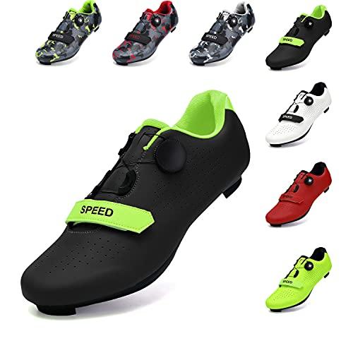 SwissWell Herren Fahrradschuhe Kompatible SPD Mountainbike Schuhe Straßenreitschuhe mit Schnallenstollen