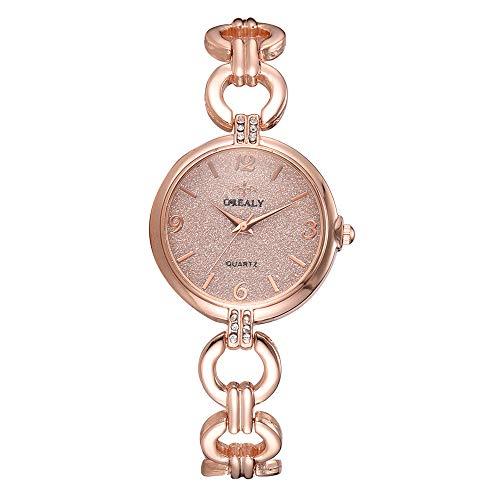 GJHBFUK Reloj Mujer Reloj De Aleación De Moda para Mujer, Esfera Redonda, Pantalla Analógica, Reloj De Cuarzo, Joyería para Niña, Reloj De Regalo, Oro Rosa