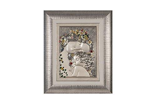 CVC- Quadro da Parete, Cornice Argentata, Dettaglio Righe. Riproduzione maternità di Klimt, in bilaminato Argento. Dimensione 59x73 cm. Made in Italy.
