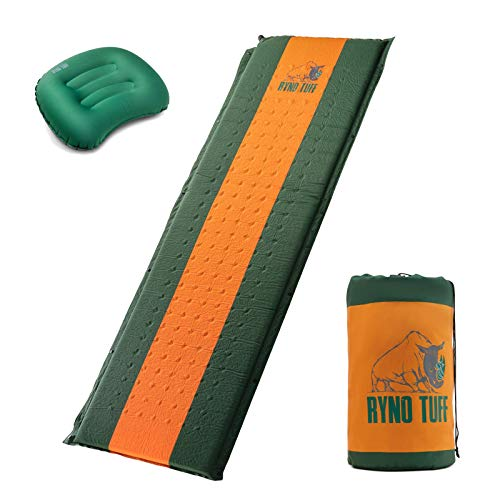 Ryno Tuff Sleeping Pad Set, Self Inflating Sleeping Pad with Free Bonus Camping Pillow, The Foam Camping Mattress is Large, Comfortable and Well Insulated, Yet Compact When Folded (Sleeping Pad Set)